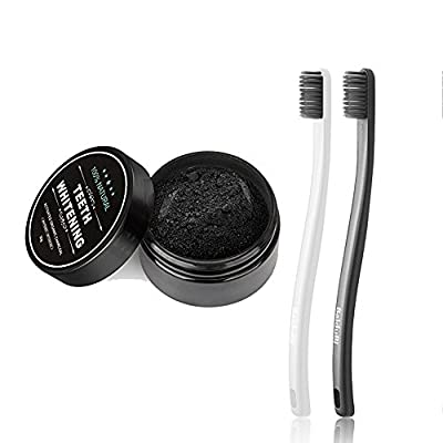 Activated Charcoal Powder,Charcoal Toothpaste,Natural & Organic Teeth Whitening Bamboo Activated Charcoal Powder + 2 Packs Toothbrush Oral Care Set