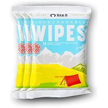 Biodegradable Cleansing Body Wipes (3-Pack, 30ct) with Tea Tree Oil & Aloe Vera - Great for Camping, Festivals, Post Workout, Travel