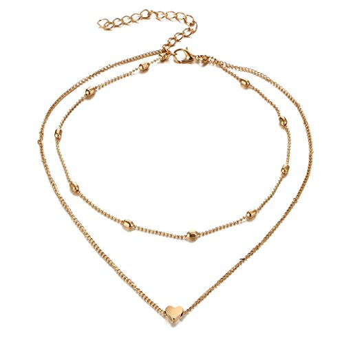 Clearance Women Multilayer Love Heart Pendant Necklace Chain Jewelry (Gold) - Flip White Necklace