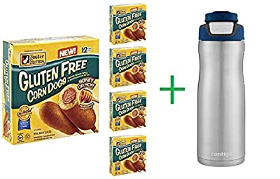 Foster Farms Gluten Free Honey Crunch Corn Dogs 12 ea (5 Pack) + Stainless Steel Hydration Bottle 24oz (Combo Offer)