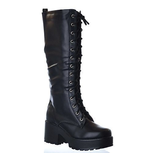 NEW LADIES WOMENS KNEE HIGH CHUNKY PLATFORM MID BLOCK HEEL LACE UP ZIP UP BOOTS Black Faux Leather 72zvDvGX