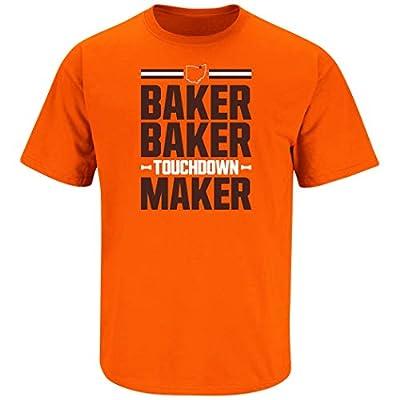 Nalie Sports Cleveland Football Fans. Baker Baker Touchdown Maker Orange T-Shirt (Sm-5X)