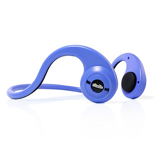 allimity Wireless Open Ear Bone Conduction Headphones Bluetooth Over Ear Stereo Earphones with Mic for iPhone, iPad, Samsung, Sony, LG, HTC Android Smart Cellphones, Tablets(Blue)