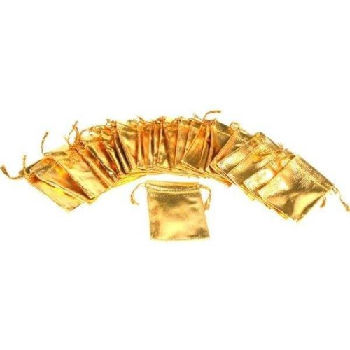 """24 Pouches Gold Gift Bags Drawstring Jewelry Favor 2.5"""""""