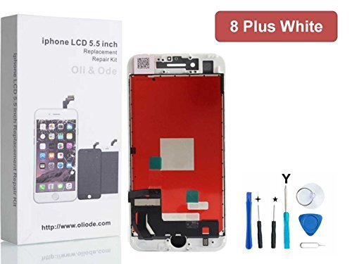 iPhone 8 Plus Screen Replacement LCD Touch Screen Digitizer Frame Assembly Set 3D Touch Free Tool Set Included 5.5 inch (White)