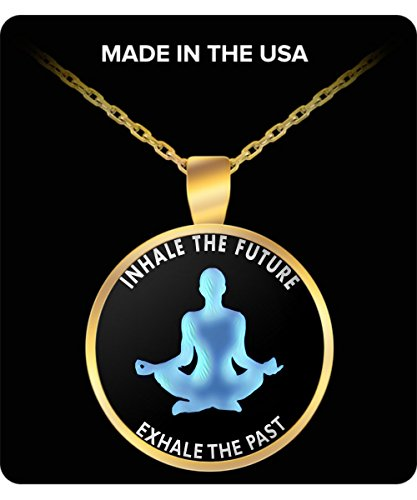 Yoga Necklace - Inhale The Future, Exhale The Past - Gold Chain Pendant For Men and (Future Themed Costume Ideas)