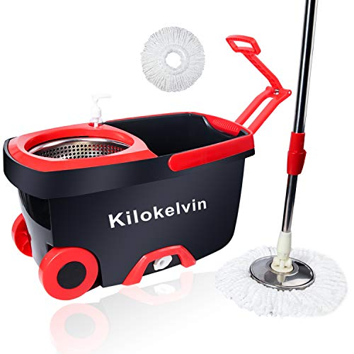 kilokelvin 360 Spin Mop Bucket with 2 Extra Microfiber Head Refills 2x Wheels 61inch Extended Handle Stainless Steel Drainage Basket for Home Floor Cleaning by Kilokelvin (Image #8)