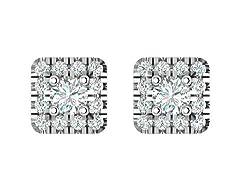 Natural Diamond Square Halo Stud Earrings for Women