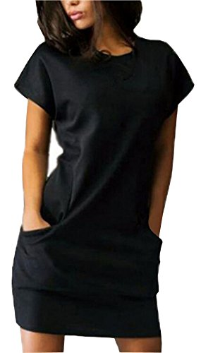 Women's Face Short Black Dresses with Summer Dress Casual Pockets Mini Face N Shirt Sleeve E5wxqnHX