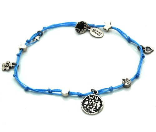 MIZZE Made for Luck Women's Handmade Wishes King Solomon Seal Charms Ankle Bracelet in Light Blue