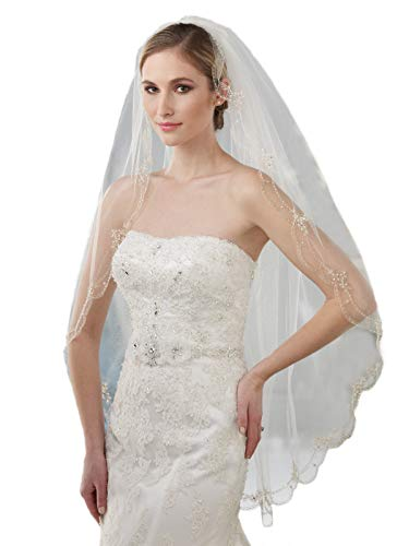 Passat Pale Ivory 1 Tier 160CM Walking Veil Filigree Metallic Embroidery Heavily Beaded Veil with Floral Sequins Design 305