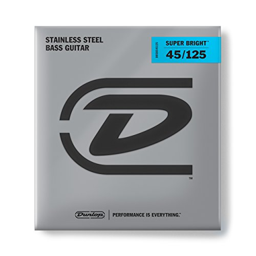 Dunlop DBSBS45125 Super Bright Bass Strings, Stainless Steel, Medium, .045-.125, 5 Strings/Set