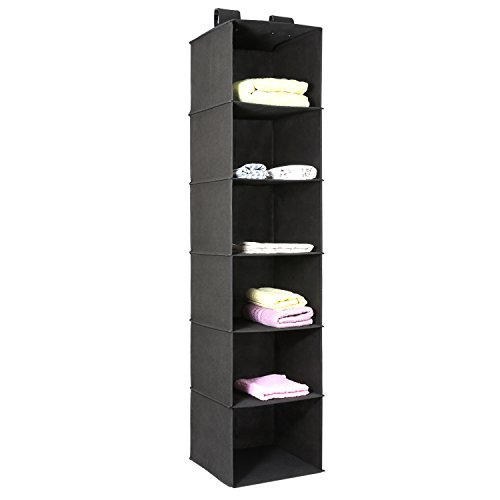 set Organizer, 6-Shelf Hanging Clothes Storage Box Collapsible Accessory Shelves Eco- Friendly Closet Cubby, Sweater & Handbag Organizer, Easy Mount, Black ()