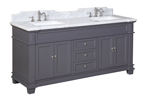 Kitchen Bath Collection KBC5972GYCARR Elizabeth Bathroom Vanity with Marble Countertop, Cabinet with Soft Close Function and Undermount Ceramic Sink, Carrara/Charcoal Gray, ()
