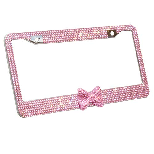 Carfond Pure Handmade 7 Row Bling Bling Rhinestones Stainless Steel Metal Car License Plate Frame With HOT Pink BOWTIE Gift For Women Girlfriend Wife Daughter Mom (Pink/pink bowtie)