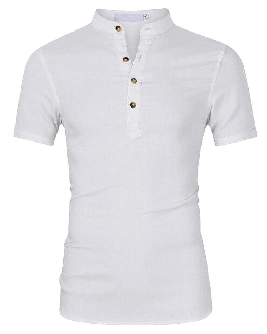pipigo Mens Short Sleeve Henley Shirt Linen Slim Fit Casual Top T-Shirts