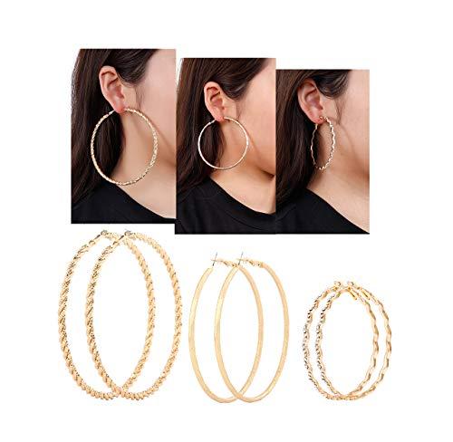 Multiple Hoop Earring for Women VUJANTIRY Flat Silver Gold Earrings Hoop 3 Pairs (Gold#1) ()