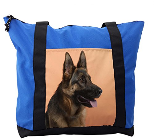 Lunarable German Shepherd Shoulder Bag, Dog Close-up Image, Durable with Zipper