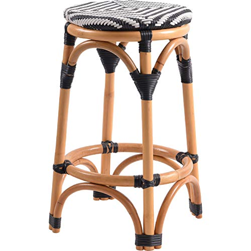 New Pacific Direct 668625-698 Adeline Rattan Backless Bistro Counter Bar & Counter Stools, Black/White (Stool White Rattan)