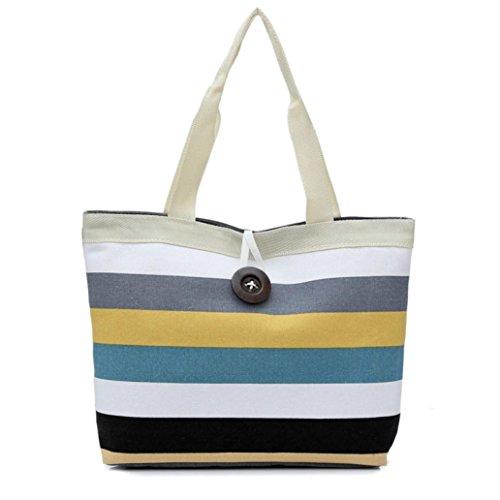 stripes Tote Lady Purse Handbag Shoulder Shopping Shopping Internet Colored Bag Khaki Canvas gTnzqxnEwa