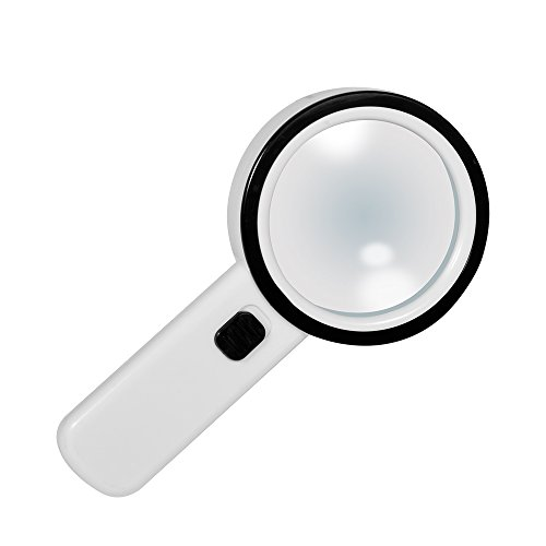 Kadaon Handheld 20x Magnifying Glass - Lens with 12 Leds - Lightweight Durable ABS Frame - Scratch Resist Clear Lens Loupe –Ideal for Reading, Crafts, Needlework, Jewelry, Hobbies (Lens Smooth Clear)
