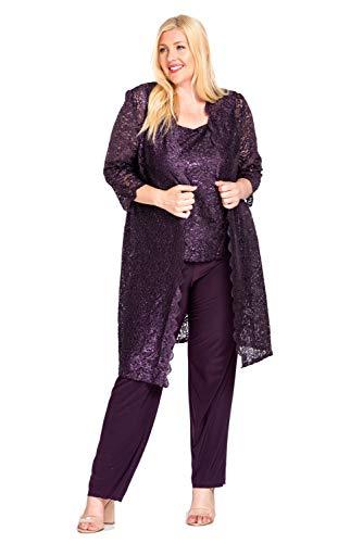 R&M Richards Mother of The Bride Plus Size Pant Suit Plum