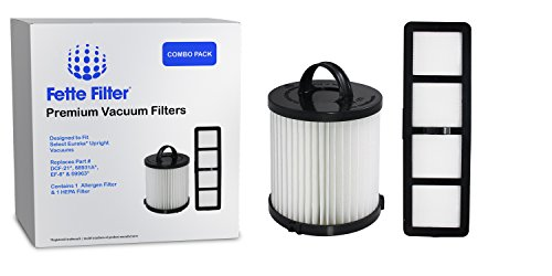 Fette Filter - Vacuum Filter Set Compatible with Eureka Airspeed AS1000 Series Upright Vacuum Cleaners for DCF-21 & EF-6. Compare to Part # 67821, 68931, 69963 & 830911 Eureka Airspeed (Combo Pack)
