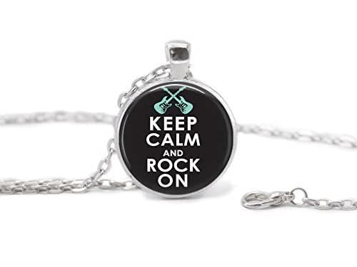 Keep Calm And Rock On Glass Pendant Necklace Round