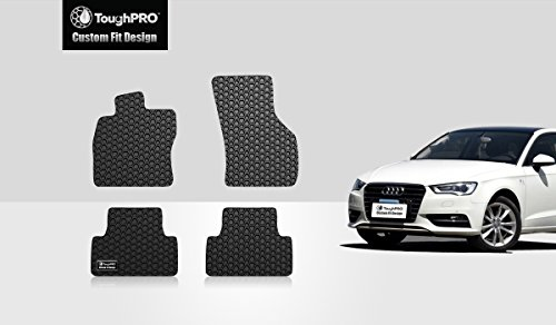 ToughPRO Floor Mats Set (Front Row + 2nd Row) Compatible with Audi A3 - All Weather - Heavy Duty - (Made in USA) - Black Rubber - 2015, 2016, 2017, 2018, 2019