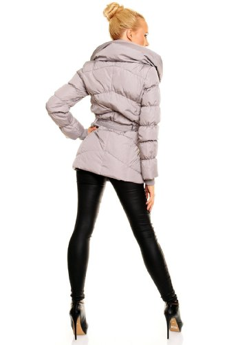 ... Fresh Made Daunenjacke Kurz Mantel Wintermantel Steppjacke XL Kragen  Grau KRpsa