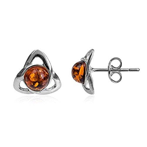 (Amber Sterling Silver Small Celtic Stud Earrings)