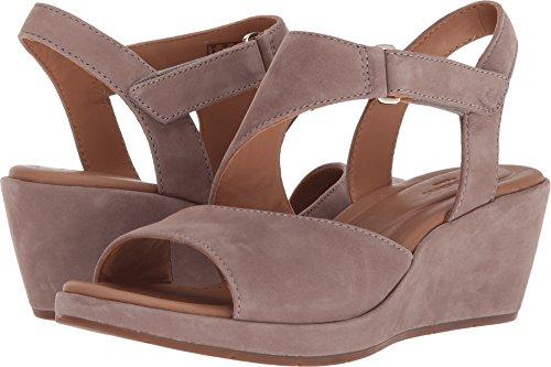 CLARKS Womens Un Plaza Sling Wedge Sandal, Warm Grey Nubuck, Size 9