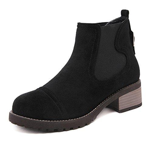 ZHZNVX El otoño y el invierno botas nuevas botas único áspero con banda elástica de mujeres los zapatos de tacón alto black