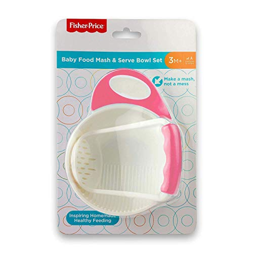 Fisher-Price Baby Polypropylene Food Mash and Serve Bowl Set- (Pink, 3 Months)