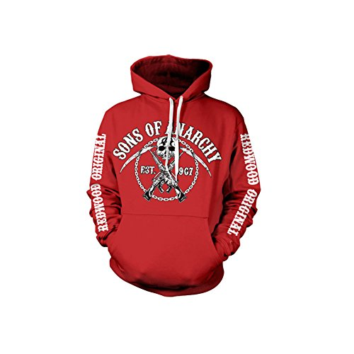 (Officially Licensed Merchandise Sons Of Anarchy Chain Logo Hoodie (Red), Large)