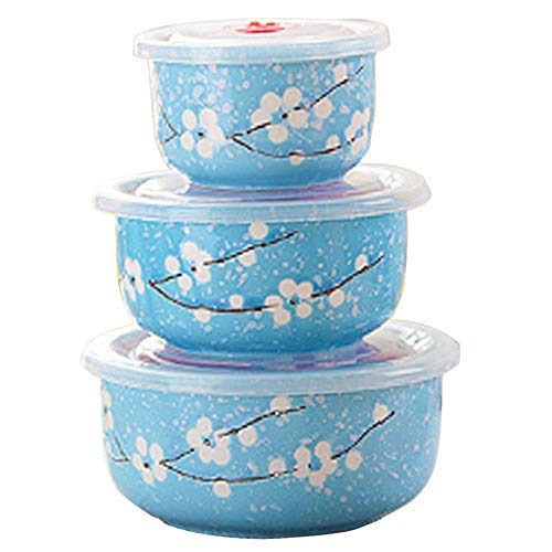 Bowl Set Style - Microwave Bowls with Lid, Japanese Style Blue Ceramics Bowls Set with Lids - Ceramic Food Storage Container Set Nesting Mixing Bowls Set Serving Soup Salad Snack Noodle(3 Piece Set)