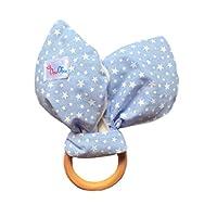 DouDou - Sonaja y Mordedera de madera 2 en 1 - para dentición - orejas de conejo - tela suave color azul con estrellas blancas para niño