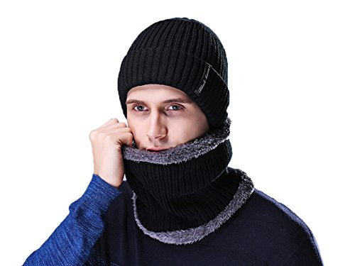 Rgslon Winter Beanie Hat Scarf Set Thick Knit Skull Cap Sleding Ski Hat for Men Women - Hats Face Male Round For