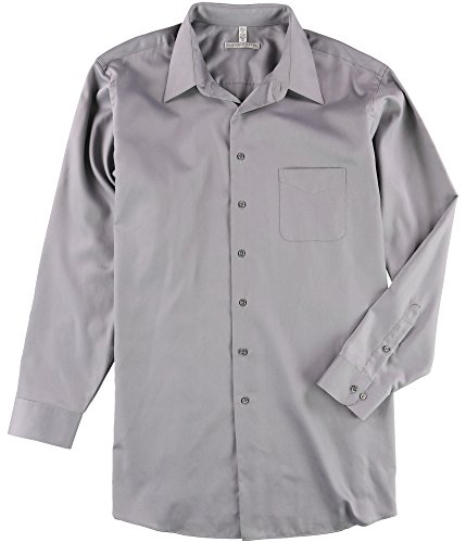 Geoffrey Beene Mens Wrinkle Free Sateen Button up Dress Shirt Grey 19 - Big & Tall