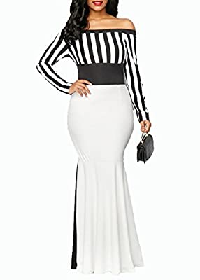 VERWIN Off Shoulder Bodycon Fishtail Women's Maxi Dress Long Sleeve Floor-Length Stripe Dress