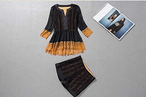 Causante Black En Pantalón Piezas Mangas Conjunto Mujeres Cuello De Para Cintura Alta Camisetas Corto Alto Con Efecto Dos Sin V qYAaAFn1