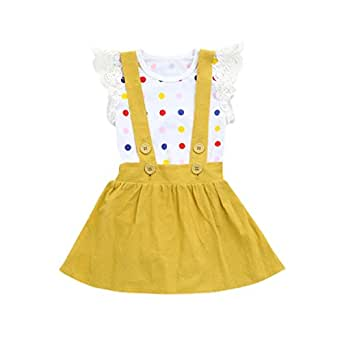 FAMILIZO Vestidos Niña Flores, Vestidos Bebe Niña Verano Vestido De Fiesta Vestidos Niña Verano Manga Corta para Bebés Niña Vestidos Niñas Ceremonia Vestidos Falda + Monos (6 Meses, Amarillo # 2)