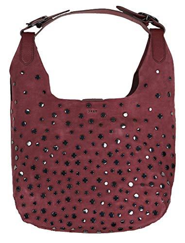 DKNY Wes Studded Genuine Suede Hobo Bag Purse (Oxblood)