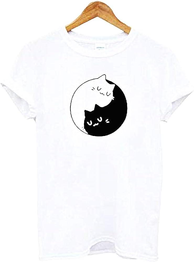 Camiseta Gato Yin Yang - Gatos - Tao - Mujer - Blanco y Negro - Manga Corta - Mujer - niña - Blanco - Idea de Regalo Original - Talla XS: Amazon.es: Ropa y accesorios
