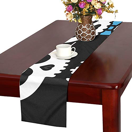WUTMVING Cute Kawaii Skeleton Love Couple Boy Table Runner, Kitchen Dining Table Runner 16 X 72 Inch for Dinner Parties, Events, Decor