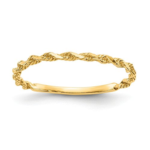 Twisted 14k Rope Gold (14k Yellow Gold Textured Rope Wedding Ring Band Size 6.00 Fine Jewelry For Women Gift Set)