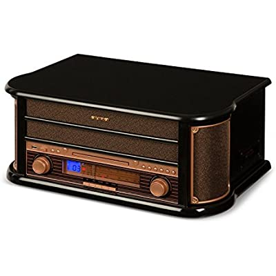 AUNA Belle Epoque 1908 Retro Stereo System Record Player  Turntable  USB  CD  MP3  Micro System  FM AM Radio Tuner  Stereo Speakers  Recording Function  Built-In Cassette Deck  Black