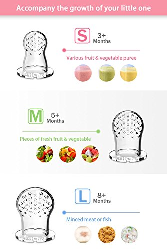 MICHEF Baby Food Feeder (3 Pack) - Baby Fresh Fruit Feeder Pacifier with 3 Different Sized Silicone Teething Pacifiers, Baby Fresh Food Feeder Feeding Teething Toys Teether by MICHEF (Image #6)