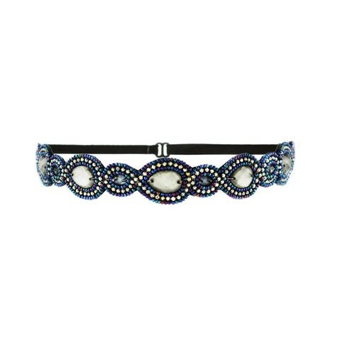 Tassel Park Ave Headband, Pewter Blue