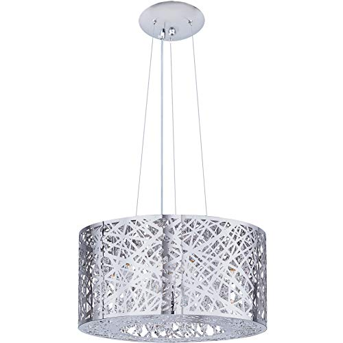 ET2 E21309-10PC Inca 7-Light Multi-Light Pendant, Polished Chrome Finish, Clear/White Glass, G9 Xenon Bulb, 100W Max., Dry Safety Rated, 3500K Color Temp., Electronic Low Voltage (ELV) Dimmable, Bubble Glass Shade Material, 315 Rated Lumens